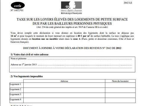 Imp ts 2013 le formulaire de la taxe sur les micro - Declaration revenus location meuble de tourisme ...